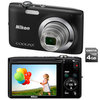 C�mera Digital Nikon Coolpix S2600 Preta 14 MP + Cart�o de 4GB + Filma em HD
