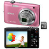 C�mera Digital Nikon Coolpix S2600 14 MP Rosa + Cart�o de 4GB + Filma em HD
