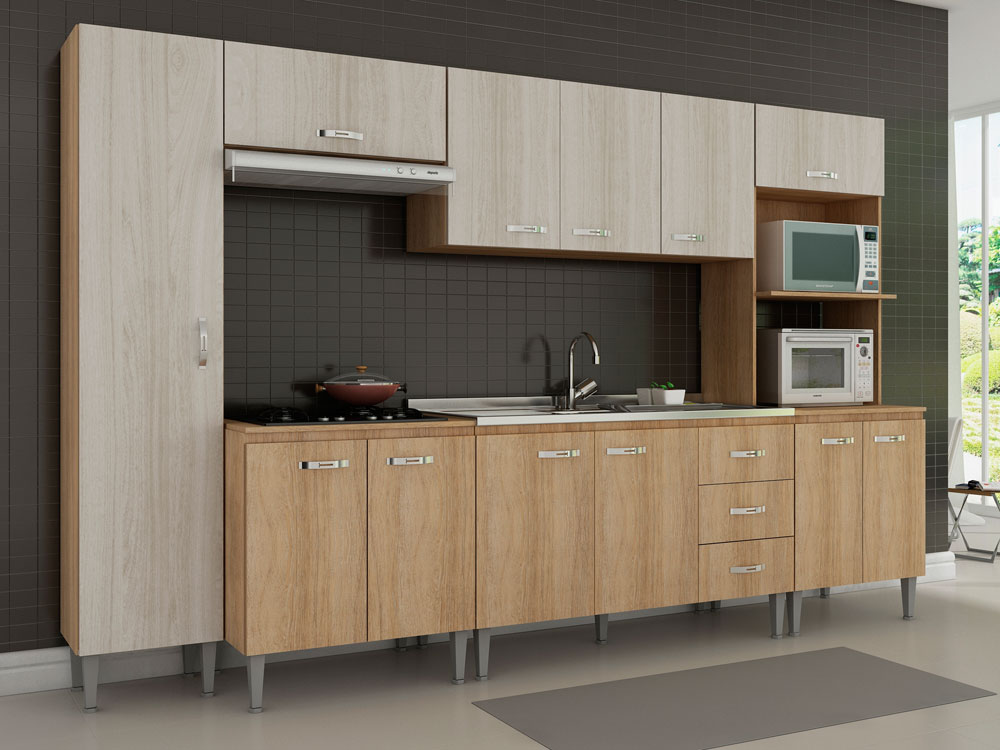 Cozinha Compacta Fellicci Master, 12 Portas, 3 Gavetas  06  Colombo # Cozinha Compacta Florata Fellicci